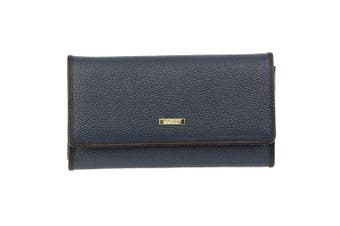 Morrissey Italian Structured Leather Flap Over Ladies Wallet (MO3034)-Navy