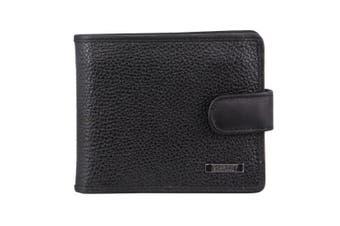 Morrissey Italian Leather Tri-Fold Mens Wallet (MO3076)-Black