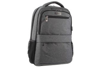 Pierre Cardin Travel & Business Backpack with Built-in USB Port (PC3179)-Charcoal-Black