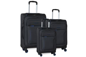 Pierre Cardin Soft Luggage Case - SET OF 3 (PC2823)-Black