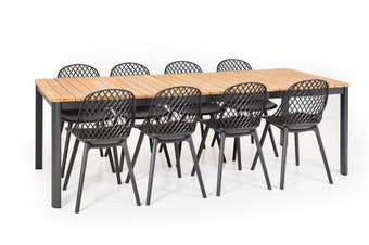 Aura 9pce Teak Dining Table and Chairs