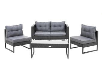 Excalibur Outdoor Living Maxim 4 Piece Lounge Setting Black