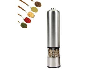 Electric Salt Pepper Grinder Stainless Steel Shakers Mill Battery Operated Light