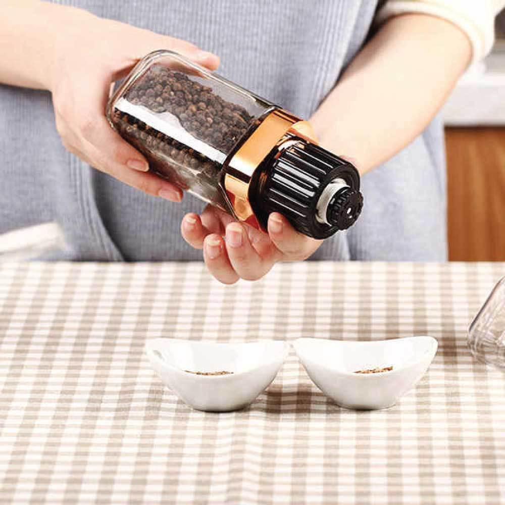 Design Glass Salt Pepper Grinder Rose Gold 180ml Bottle Manual Ceramic Hand Mill