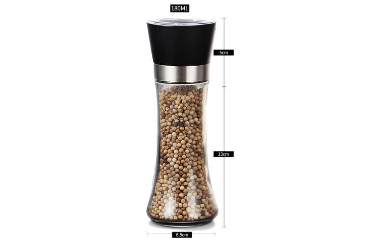 Glass Salt Pepper Grinder 18cm 180ml Adjustable Ceramic Core Tall Mill Miller