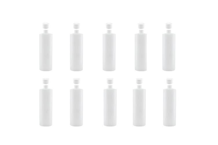 10x 1L Clear HDPE Round Bottle Empty Plastic 28/410 White Cap Food Storage