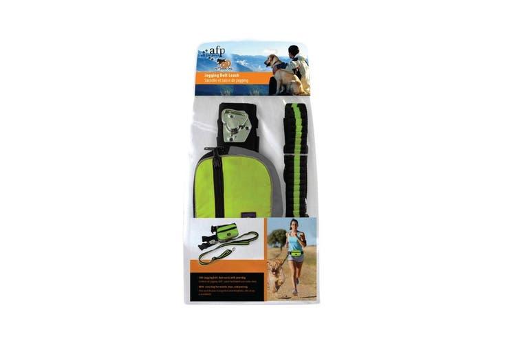 Jogging Dog Leash Kit Adjustable Green Waist Belt Bag Hand Free Walking Lead AFP
