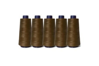 5 Brown Sewing Overlocker Thread 2000m Hemline Polyester Overlocking Cone Spools