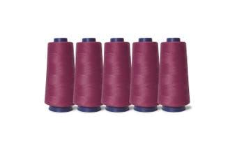 5 Cerise Cherry Pink Sewing Overlocker Thread 2000m Hemline Polyester Overlocking Spool