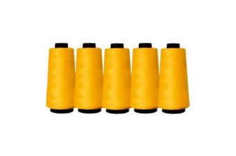 5 Gold Yellow Sewing Overlocker Thread 2000m Hemline Polyester Overlocking Spool