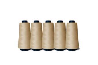 5 Natural Sewing Overlocker Thread 2000m Hemline Polyester Overlocking Spools
