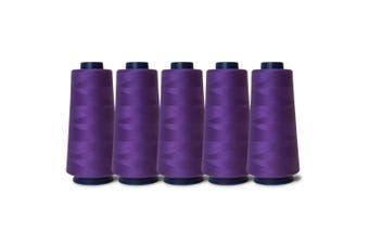 5 Purple Sewing Overlocker Thread 2000m Hemline Polyester Overlocking Cone Spool