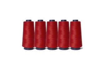 5 Red Sewing Overlocker Thread 2000m Hemline Polyester Overlocking Cone Spools
