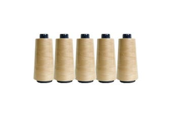 5 Beige Sewing Overlocker Thread 2000m Hemline Polyester Overlocking Spools