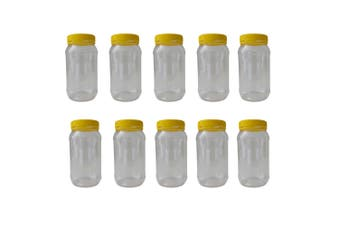 10x 1Kg Plastic Honey Jars Lids Clear Round Food Grade Packaging Containers
