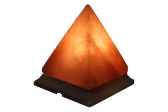 12V 12W Pyramid Himalayan Pink Salt Lamp Carved Rock Crystal Light Bulb On/Off