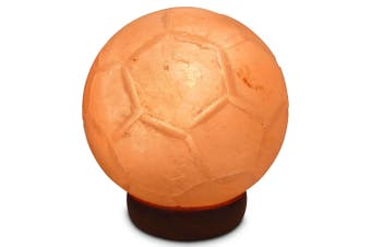 12V 12W Soccer Himalayan Pink Salt Lamp Carved Ball Rock Crystal Light Bulb On/Off