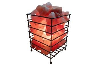 12V 12W Rectangle Iron Basket Himalayan Pink Salt Lamp Rock Crystal Bulb On/Off