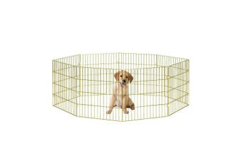 Small Pet Playpen Dog Cat Puppy Kitten Foldable Gold Metal Indoor Outdoor Fence