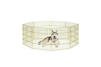 Large Pet Playpen Dog Cat Puppy Kitten Foldable Gold Metal Indoor Outdoor Fence
