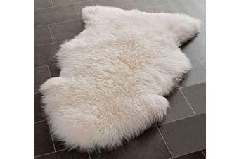 100CM Genuine Australian Premium Soft Sheepskin Lambskin Rug Pelt White / Ivory