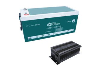 Pro Power 12V Volt 200ah Lithium Iron LiFePo4 Deep Cycle Battery + 20A Charger