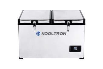 Kooltron 75L Stainless Steel Dual Compartment Fridge / Freezer Camping 12v24v 240v