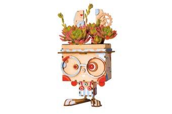 Robotime Cute Robot Flower Pot - 3D Wooden Puzzle - Building Kits Toy Bunny