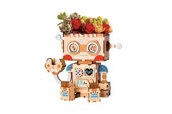 Robotime Cute Robot Flower Pot - 3D Wooden Puzzle - Building Kits Toy Robot