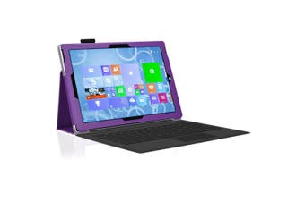"""Microsoft Surface Pro 6 / Pro 5 / Pro 4 (12.3"""") Slim Folio Flip Case by MEZON – Compatible with Type Cover Keyboard – With Screen Protector and Stylus – Purple"""
