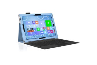 """Microsoft Surface Pro 6 / Pro 5 / Pro 4 (12.3"""") Slim Folio Flip Case by MEZON – Compatible with Type Cover Keyboard – With Screen Protector and Stylus – Sky Blue"""