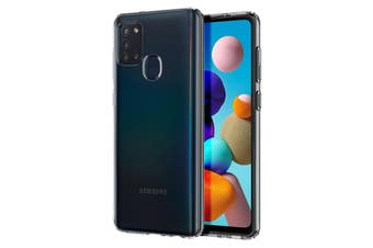 Galaxy A21s Ultra Slim Crystal Clear Premium TPU Gel Back Case by MEZON – Shock Absorption, Wireless Charging Compatible – With Screen Protector (Galaxy A21s, Gel)