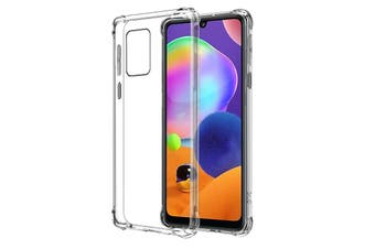 Galaxy A31 Ultra Slim Crystal Clear Premium TPU Gel Back Case by MEZON – Shock Absorption, Wireless Charging Compatible – With Screen Protector (Galaxy A31, Gel)