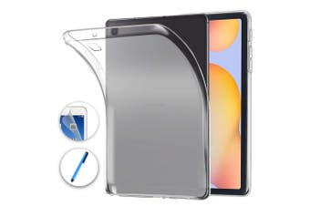 """Samsung Galaxy Tab S6 Lite 10.4"""" Ultra-Thin Transparent Clear TPU Gel Case by MEZON (SM-P610, P615) – Anti Scratch, Shock Absorption – with Screen Protector and Stylus"""