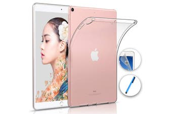 """Apple iPad 10.2"""" (2019) Crystal Clear Transparent Ultra Slim Soft TPU Gel Back Case by MEZON – With Screen Protector and Stylus (iPad 10.2"""", Gel)"""