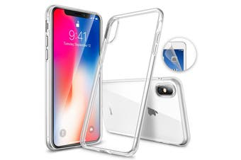 """Apple iPhone X (5.8"""") Ultra Slim Premium Crystal Clear TPU Gel Back Case by MEZON – Wireless Charging Compatible – With Screen Protector (iPhone X, Gel)"""