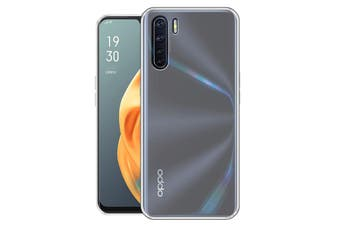 OPPO A91 Ultra Slim Crystal Clear Premium TPU Gel Back Case by MEZON – Shock Absorption, Wireless Charging Compatible – With Screen Protector (A91, Gel)