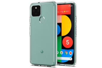 "Google Pixel 5 (6.0"") Ultra Slim Premium Crystal Clear TPU Gel Back Case by MEZON – Shock Absorption, Wireless Charging Compatible – With Screen Protector (Pixel 5, Gel)"