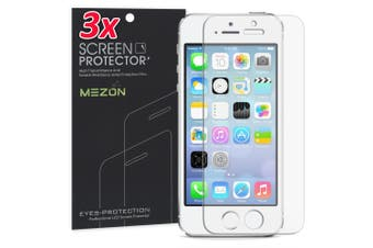 "[3 Pack] Apple iPhone SE 2016 (4.0"") Ultra Clear Screen Protector Film by MEZON – Case Friendly, Shock Absorption (iPhone SE 2016, Clear)"