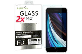 """[2 Pack] Apple iPhone 7 (4.7"""") Tempered Glass Crystal Clear Premium 9H HD Screen Protector by MEZON – Case Friendly, Shock Absorption (iPhone 7, 9H)"""