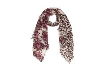 OZWEAR 100% Australian Wool Print Scarf (Red/Leopard,OZWW001)