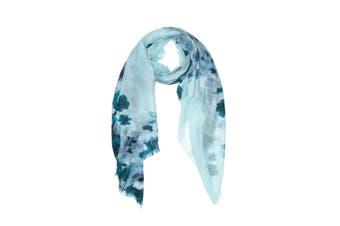 OZWEAR 100% Australian Wool Print Scarf (Sky Blue Flora,OZWW002)