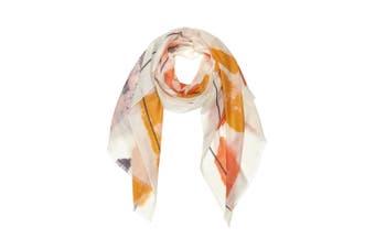 OZWEAR 100% Australian Wool Print Scarf (Orange/Grey,OZWW004)