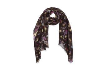 OZWEAR 100% Australian Wool Print Scarf (Purple Maple Leaves Floral,OZWW006)