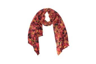 OZWEAR 100% Australian Wool Print Scarf (Saffron Leaves Floral,OZWW013)