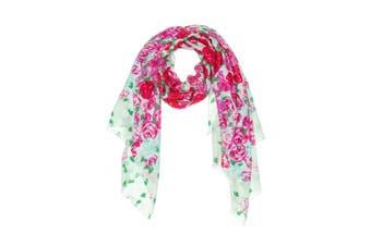 OZWEAR 100% Australian Wool Print Scarf (Rosy Rose Flower,OZWW014)