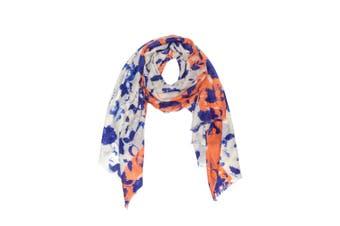 OZWEAR 100% Australian Wool Print Scarf (White/Blue/Orange,OZWW015)