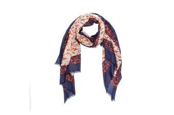OZWEAR 100% Australian Wool Print Scarf (Orange Floral,OZWW016)