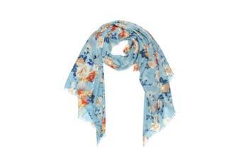 OZWEAR 100% Australian Wool Print Scarf (Dusty Blue/Orange Floral,OZWW017)
