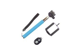 Bluetooth Remote Control Selfie Stick Monopod Extendable Iphone Samsung - Blue